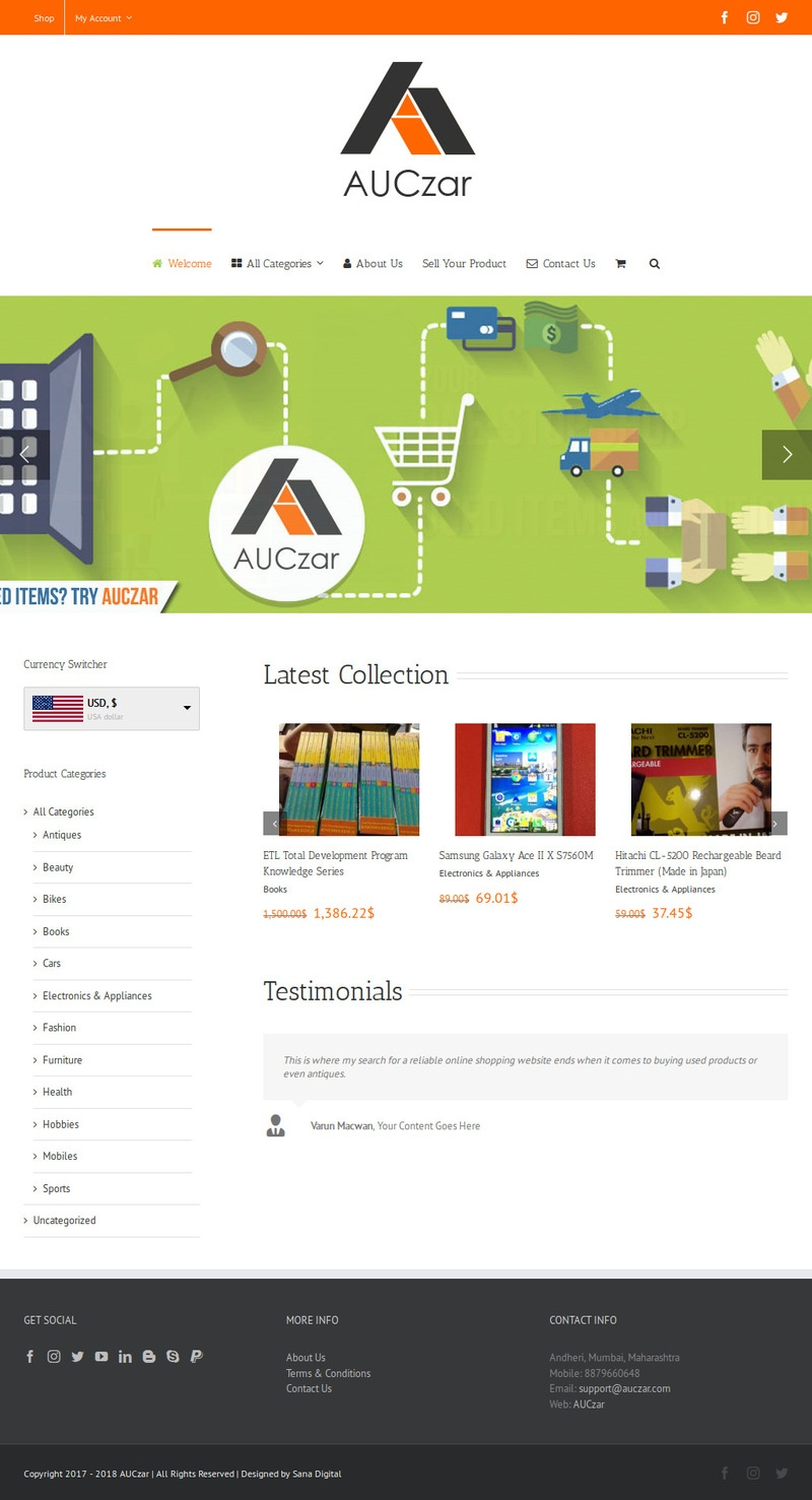 AUCzar - eCommerce Portal For Buying & Selling